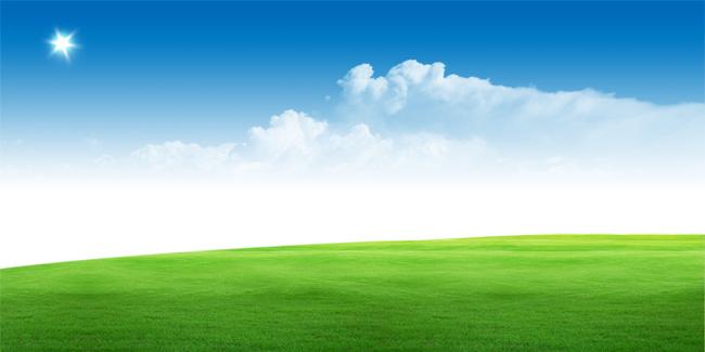 绿地蓝天风景宜人psd素材