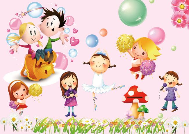 素材儿童泡泡彩色节日花朵小花庆祝卡通动画男孩女孩小孩跳舞唱歌蘑菇