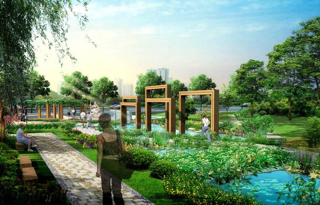 设计中庭景观设计花园景观设计别墅外景观设计素材池塘景观小亭子景