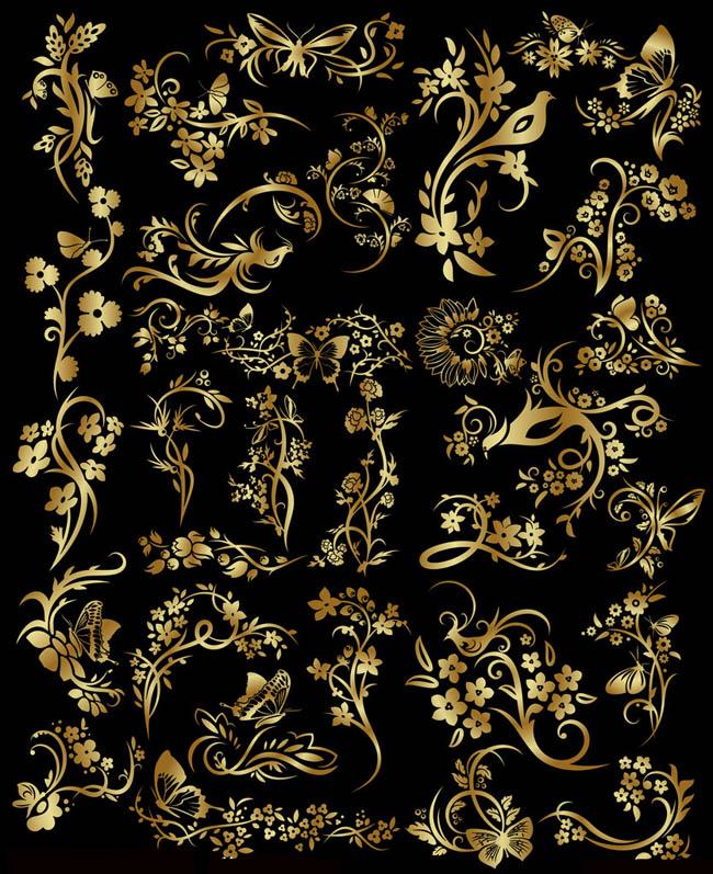 欧式边框相框花纹psd素材 古典金色花纹花边psd素材 古典木雕画框