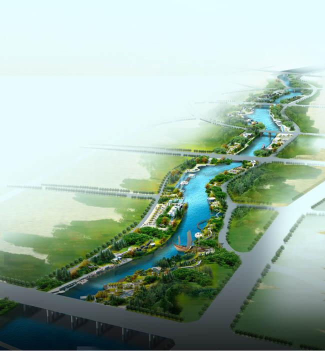 河道两边景观设计鸟瞰图psd素材