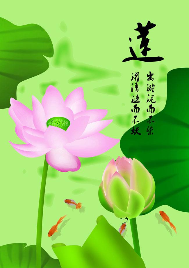 手绘荷花粉色花朵素材廉洁花金鱼花苞海报