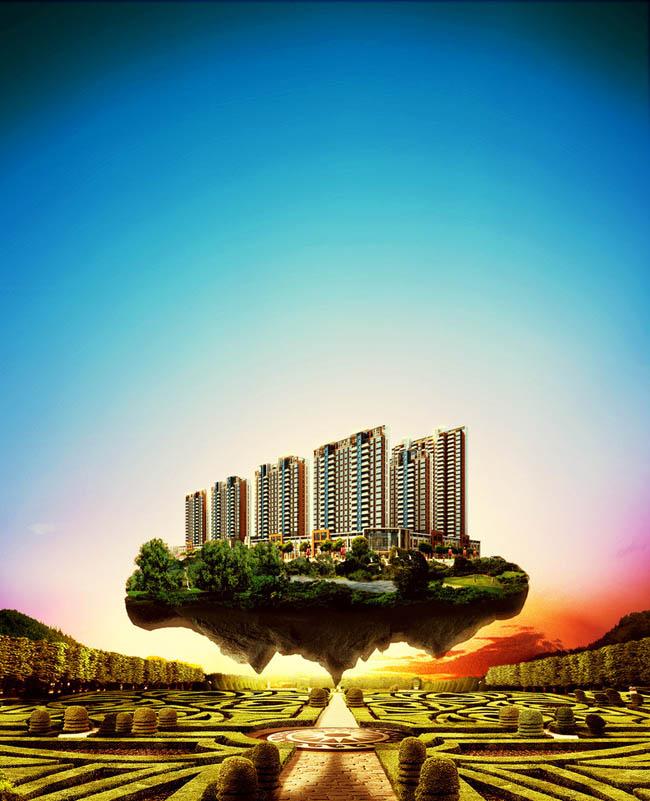 房地产 地产广告 楼盘 岛 悬浮 唯美 天空 园林 朝阳 夕阳 蓝色 绿色 盛大开盘 广告设计模板 地产画面 金色 紫色 尊贵 意境 奢华 建筑 华丽 优美 梦幻 城市中心 欧式 地产DM 园林风格楼盘 园林风格 PSD素材