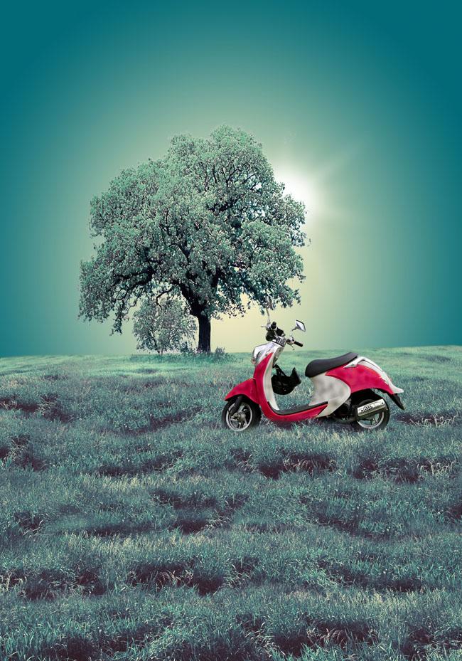 摩托车风景广告psd素材 - 爱图网设计图片素材下载