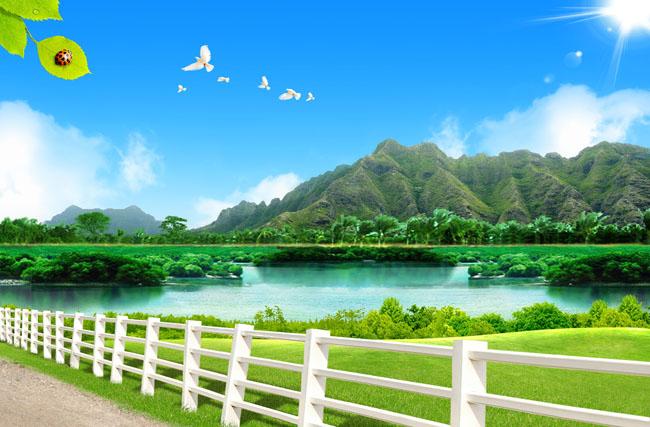 草地风景河流psd分层素材