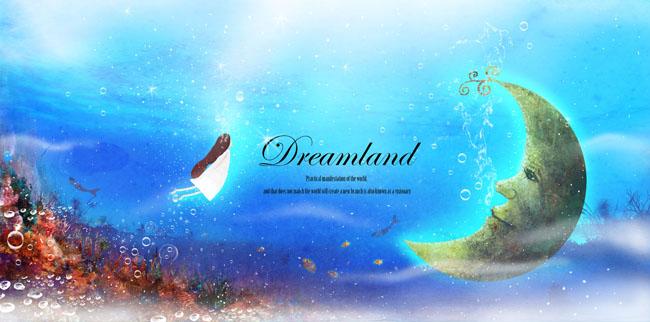 背景唯美童话海底世界水中月亮卡通女孩唯美童话海底世界气泡月亮手绘