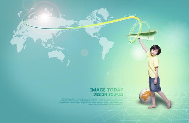 > 素材信息   关键字: 纸飞机地图蓝色背景科技韩国儿童可爱小孩小