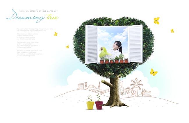 大树窗口封面背景春天卡通背景韩国儿童可爱小孩小学生孩子蝴蝶绿色