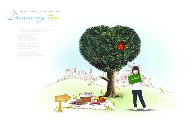 大树野营食物小女孩箭头木板韩国儿童可爱