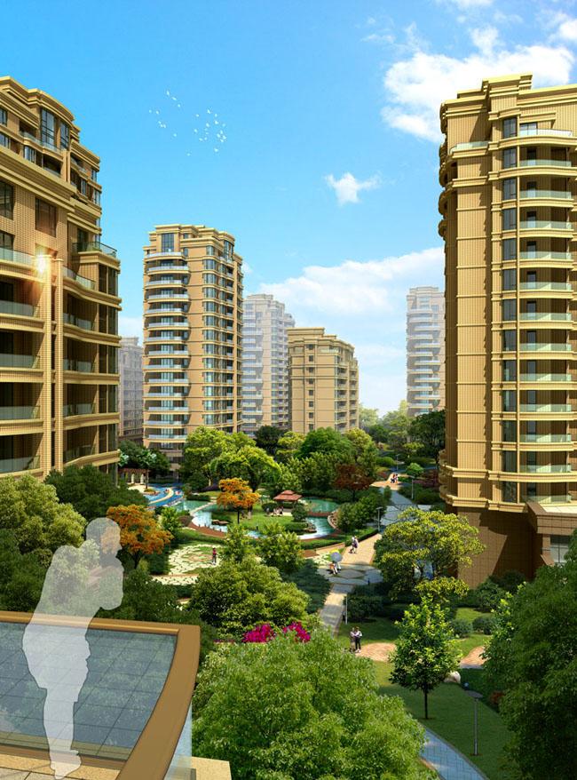 小区花园景观设计psd素材 欧式园林别墅建筑设计psd素材 楼房建筑环境