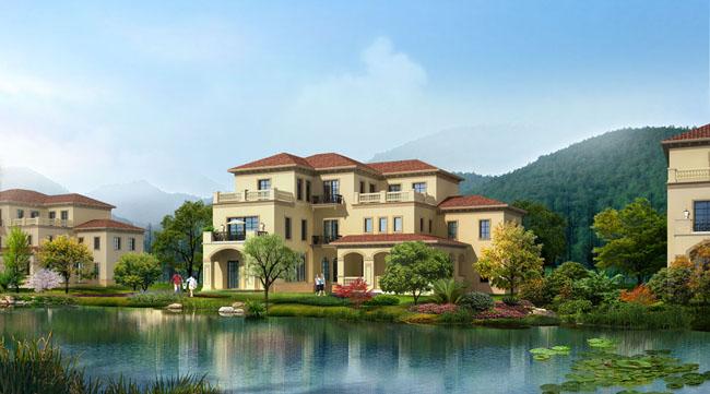 别墅风景建筑设计psd素材