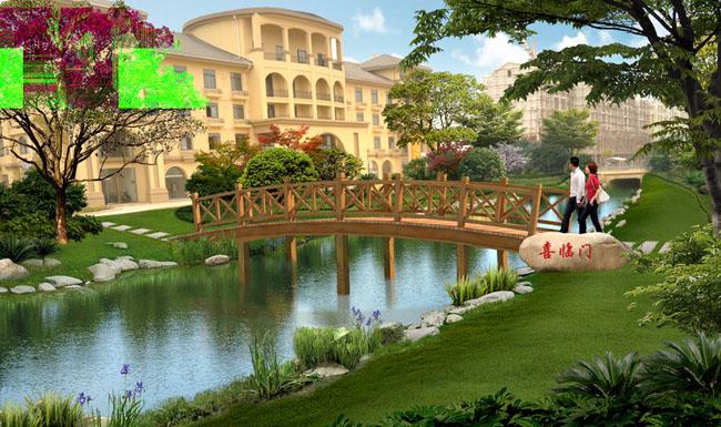 大树小桥和房子简笔画