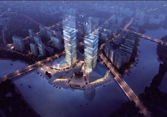 大厦城市鸟瞰图psd素材