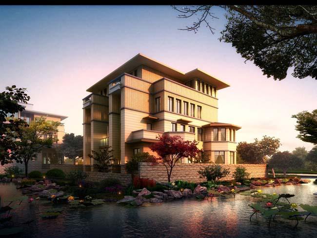 别墅建筑 园林景观设计 池溏 树 环境 景观建筑 景观效果图 荷花 环境艺术设计 环艺设计 楼房 建筑设计 园林景观 环境设计 PSD分层素材