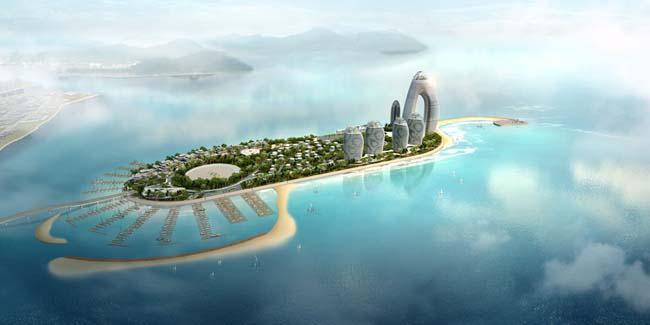 岛屿小岛鸟瞰图大海风景景观