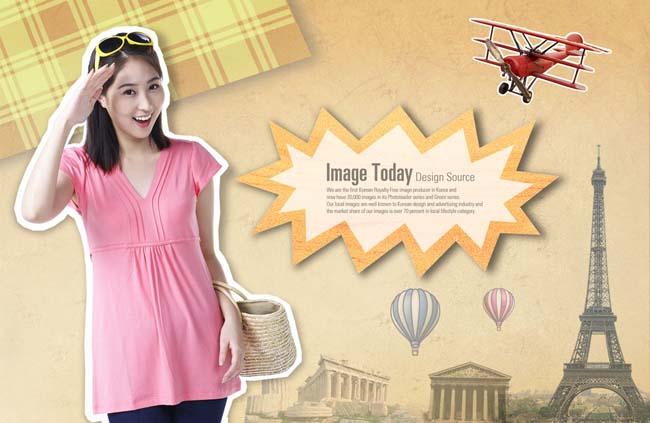 出行飞机热气球巴黎铁塔打招呼广告模板psd分层素材
