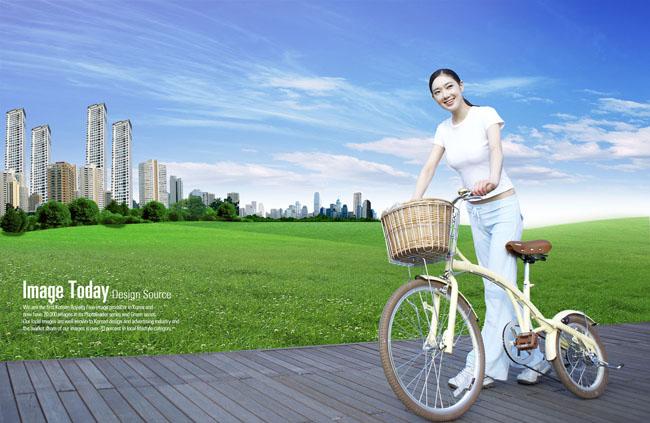 骑自行车的女孩头像 骑自行车的女孩卡通 骑自行车的女孩头像图片