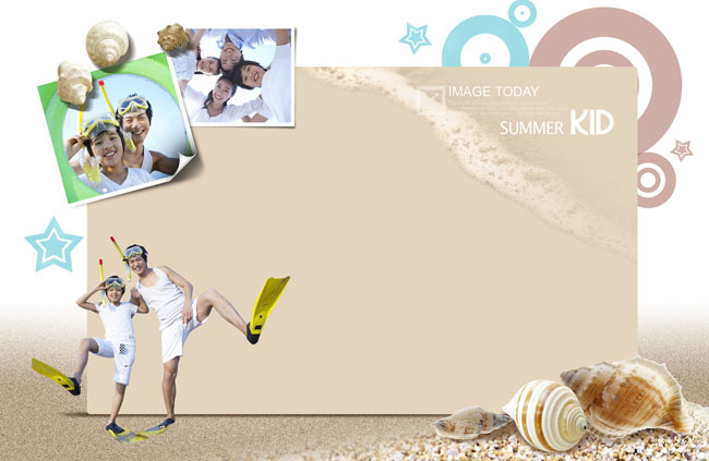 海滩父子玩耍psd素材图片