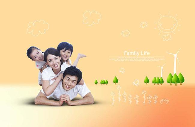 草地上幸福快乐家庭psd素材 韩国装饰牌与幸福家庭psd素材 拿着书本的