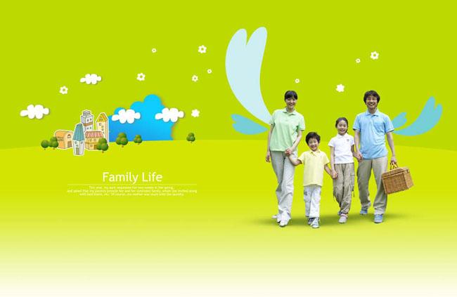 景幸福 牵手 家庭户外活动休闲的一家人-卡通人牵手