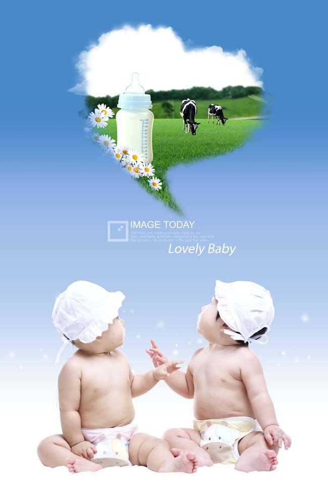 双胞胎宝宝展板广告psd素材