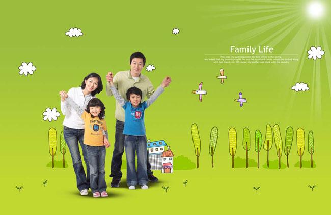 韩国家庭之卡通背景psd素材