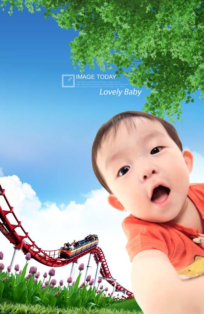 乐园白云树叶花草草地可爱宝宝韩国儿童psd分层素材