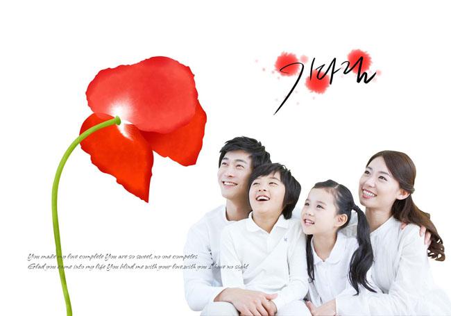 幸福一家人花朵水圈背景psd素材图片