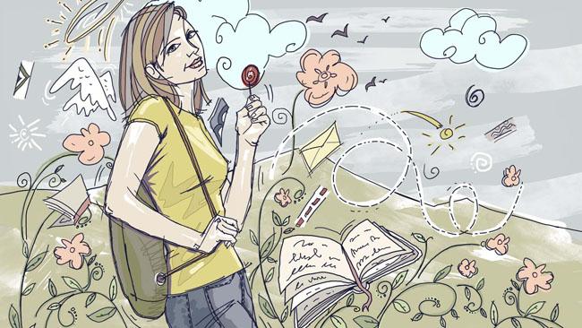 绘画人物绘画学生花朵手绘画插画素材人物