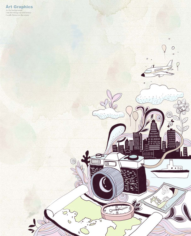 卡通相机城市插画PSD素材