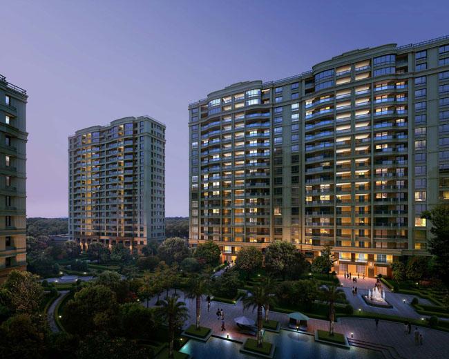 小区夜景绿色景观楼房效果图建筑效果图高楼大厦园林景观环境设计