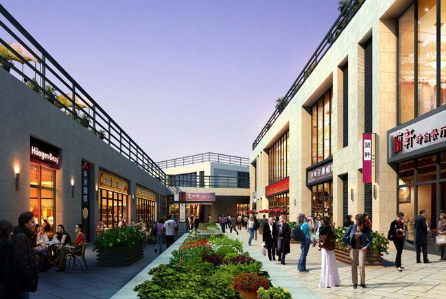 商业街效果图 高档小区景观效果图图片