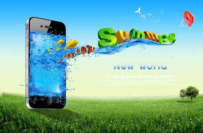 苹果手机创意广告psd素材 - 爱图网设计图片素材下载