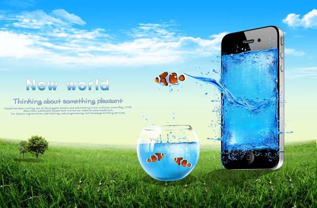 金鱼与苹果手机广告海报psd素材