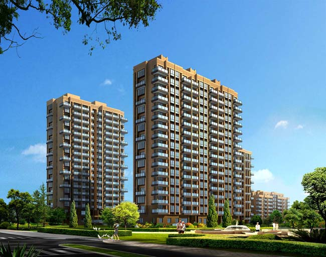 房屋绿色环保绿色景观建筑设计建筑效果图中式园林高楼大厦文化建筑