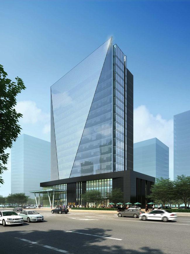星源总部大楼效果图 tf080办公楼立面效果图psd