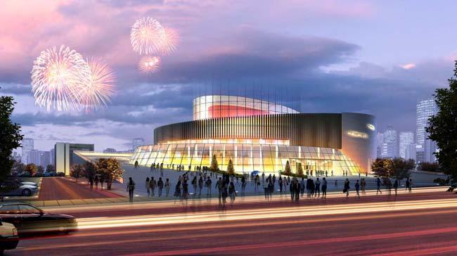 科技馆设计效果图 体育馆夜景表现效果图图片 psd素材 ps