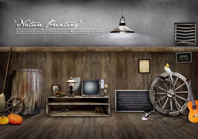 怀旧的室内木板psd素材