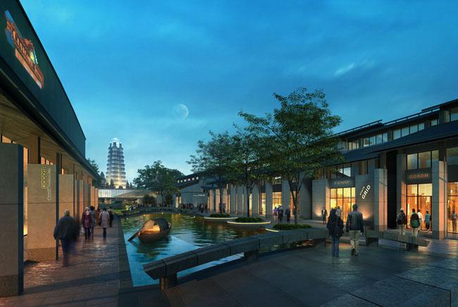 街商业建筑环境 景观 绿化环境建筑 设计 建筑效果图 中式