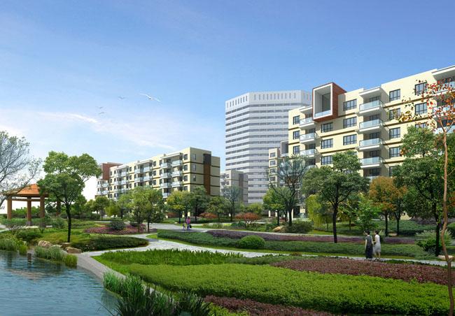 景观品质生活小区生活景观效果图园林景观现代房地产建筑景观psd素材