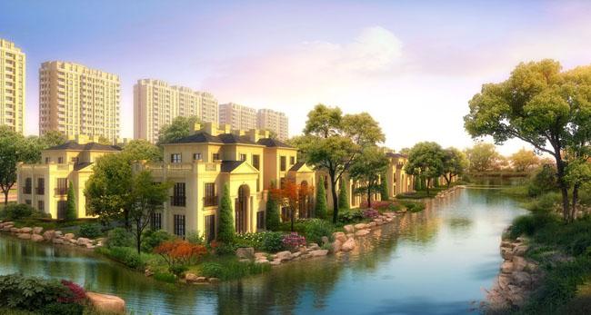 别墅景观建筑风景PSD素材
