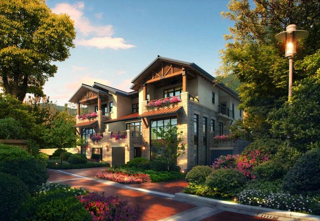 建筑设计建筑效果图中式园林园林景观环境设计当代建筑psd分层素材