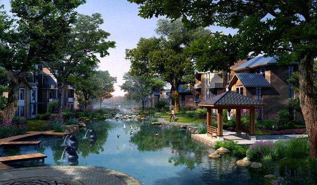 山峰上的别墅建筑景观psd素材 绿化建筑园林景观psd素材 建筑楼房水池