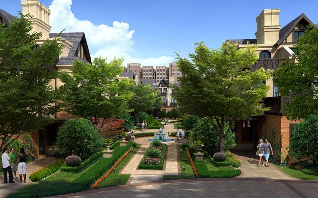 草地绿化景观建筑效果图建筑设计别墅小区psd素材