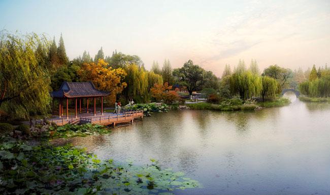园林景观风景效果图psd素材