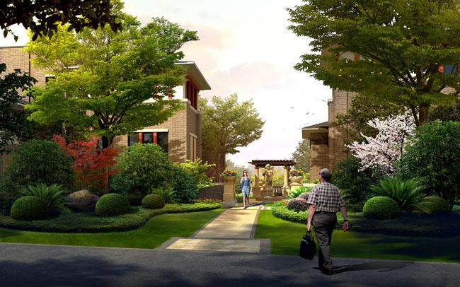 园林别墅景观psd素材 建筑小桥景观环境psd素材