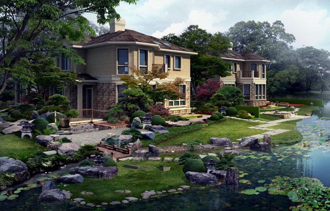 古典式园林建筑楼房景观psd素材 海边建筑别墅景观psd素材 花园别墅