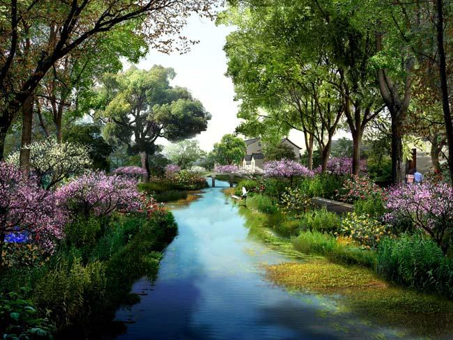 河流园林景观psd素材