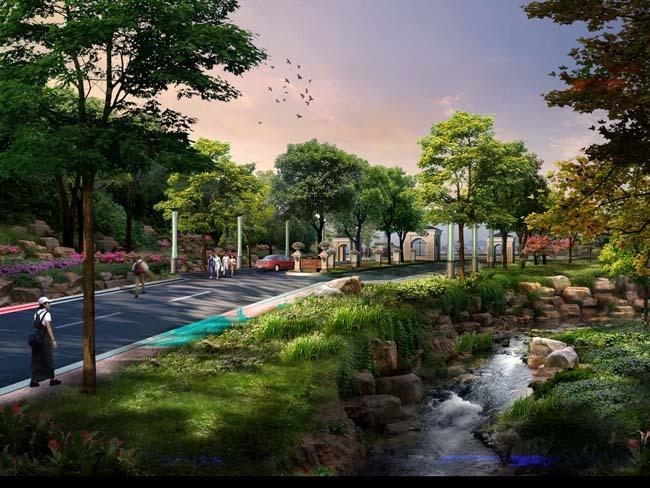 马路绿化环境效果psd素材 - 爱图网设计图片素材下载
