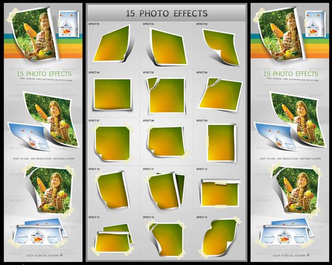 15款照片卷边效果ps动作 - 爱图网设计图片素材下载